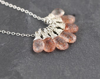 Sunstone & Sterling Silver Cluster Necklace. Wire Wrapped Gemstone Bead Pendant. Boho Layering Jewelry. Hippie Jewellery. Bohemian Necklace