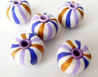 Chunky Beads Blue, Polymer Clay Beads, Chunky Beads White, White Polymer Beads, Gumball Beads, Striped Beads, Blue White Gold Beads