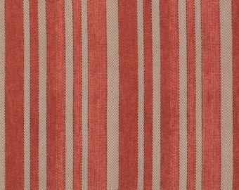 Red and Tan Stripes Ticking - Half Yard - Tim Holtz Fabric Eclectic Elements Striped Old Fashioned Vintage Looking Quilt Fabric PWTH006REDXX
