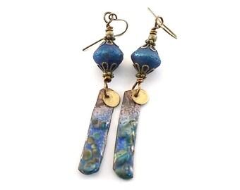 Handmade Earrings, Enameled Earrings, Rustic Blue Raku Earrings, BlueEarrings, Long Earrings, Brass Earrings, Boho Earrings, AE029
