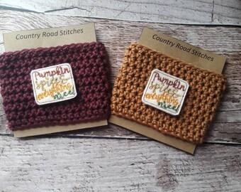 Pumpkin travel mug cozy, crochet travel mug cozy, coffee cup cozy, crochet coffee cozy, coffee cup sleeve, coffee sleeve, gift under ten