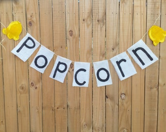 Popcorn Banner Photo Prop Movie Party Decor Ready to Pop Banner