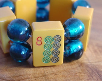 Mah Jong Bracelet / 1930's Vintage Butterscotch Bakelite / Teal Foil Glass Beads / OOAK / Bold / Chic / Unusual / Stylish / Funky / Fun / SM