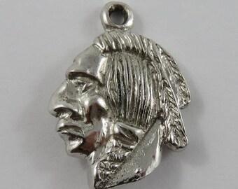 Native American Sterling Silver Vintage Charm For Bracelet