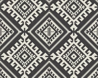 Crib Skirt Shakami Charcoal Black. Baby Bedding. Crib Bedding. Crib Skirt Girl. Baby Girl Nursery. Aztec Crib Skirt. Black Crib Skirt.