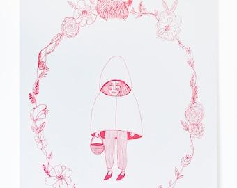 Red Riding Hood Illustration A3 Screenprint