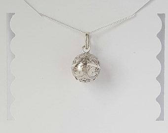 Harmony Ball Necklace, Sterling Silver Ball, 14mm, Chiming Necklace, Mother's Gift, Daughter Gift, Birthday Gift