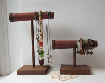 SALE - YOUR CHOICE Rustic Jewelry Display Necklace or Bracelet Holder - Antique Wood Textile Spools - Boho, Gypsy, Indie Jewelry