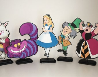 Alice in Wonderland Birthday Centerpiece (Double-Sided) / Birthday Party / Decorations / Supplies / Decor