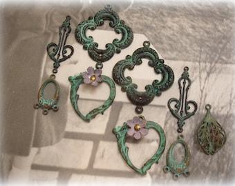 verdigris sampler assorted hand patina'd verdigris connectors and dangles 4 pair + an orphan