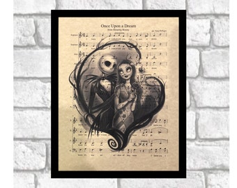 Nightmare Before Christmas Jack Skellington & Sally Print Art on 8x10 Sleeping Beauty Score ~ Can be personalized