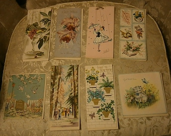 Eight Vintage Get Well Cards Unused