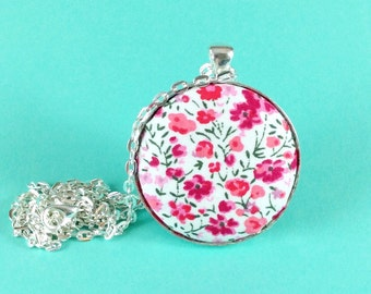 Floral necklace - pink ditsy flower necklace - Liberty fabric - pretty silver plated pendant - gift for mum, mom