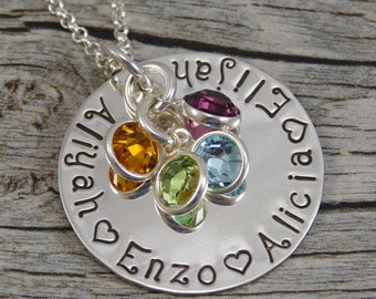 Personalized Mom Jewelry - Hand Stamped Jewelry - Sterling Silver Necklace - Names and Birthstones - Fits 25 characters - Family