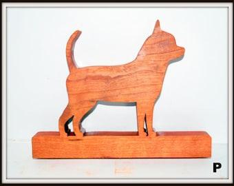 Chihuahua Plaque, Logo, Scroll Saw, Wood, Cherry