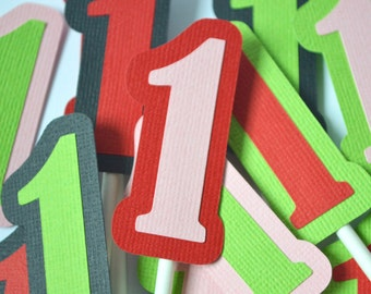 Strawberry Number Birthday Cupcake Toppers Red, Green Pink and Black By The Dozen 12