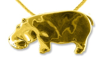 14K Solid Gold Hippo Large Pendant