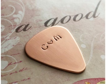 Copper Guitar Pick - Hand Stamped Guitar Pick - Personalized Initial Pick - Customized Accessory for Guitar Player - Accessory for Musician