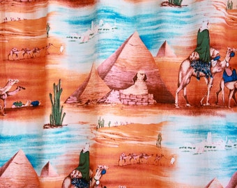 1950s Vintage Kitschy BARKCLOTH Curtain Panel with Pyramids and Camels // Egypt
