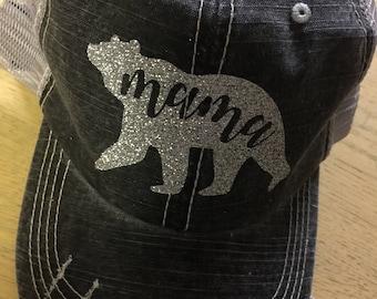 Mama Bear Distressed Trucker Hat-New Silver Glitter-2017