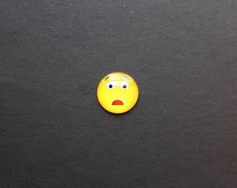 "Cabochon 25mm glass Smiley Emoji emoticon ""amazed"""