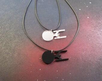 Star Trek Inspired Starship USS Enterprise Silhouette Pendant Necklace in Black or Mirrored Silver