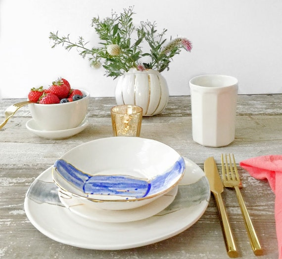 Linen Watercolor Dinnerware Plates
