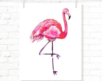 Flamingo - Tropical - Kids - Watercolor - Art Print - Wall Art