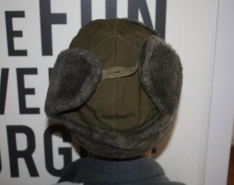 Wool Ear Flap Hat // Size Small Winter Hat // Ushanka Military Hat from Czech
