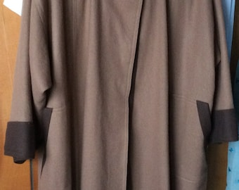 Now 20% off VINTAGE WOOL COAT, swing coat, browns, mid century style, fashion