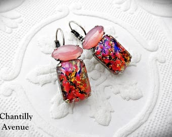 Pink Opal Drop Vintage Opal Earrings Vintage Style Crystal Cluster Earrings Rhinestone Jewelry Handmade