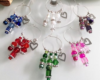 Wine Charms - Set of 6 Bridal Shower Wine Glass Charms Favors or Heart Theme Bachelorette Party Decor, Handmade by LasmasCreations.