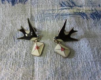 Vintage enamelled swallows 'Love Letter' earrings, pierced ears