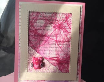 little pink OWL card