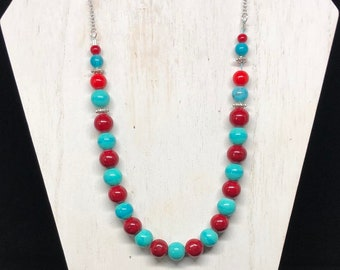 red and blue beaded necklace