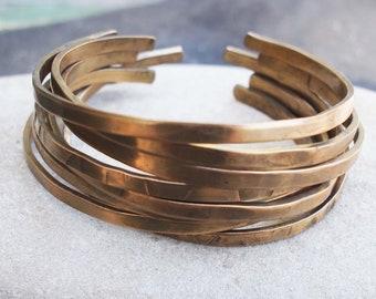 Bronze Stacking Bangles, Bronze Bracelets, 8th Anniversary Gift, Set of 8 Bracelets, Rustic Bronze