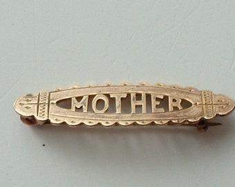 Edwardian rolled rose gold Mother brooch