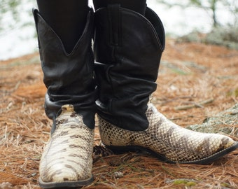 Vintage 1970s 1980s Dingo Python Real Snakeskin Black Leather Western Slouch Cowboy Boots Women's 9.5 Men's 8