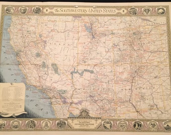 1940 XL Map of the Southwestern United States, 34x26 Vintage Color Map
