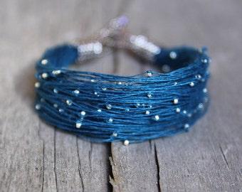Starry night linen bracelet, Beaded bracelet in blue silver gold, Starry night jewelry, Designer jewelry, Spring jewelry, Girlfriend gift