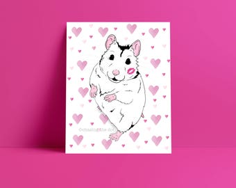 Heart Hamster 8x10 Art Print, Hamster Lover Gift, I Love Hamsters, Hamsters Are Awesome, Hamster Gift, Hamster Person