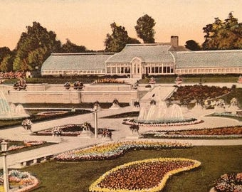 ON SALE Indianapolis Indiana IN -- Garfield Park Sunken Gardens -- Old Vintage Antique Early 1900's Souvenir Postcard -- Unused