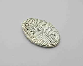 Fingerprint Jewelry, Silver Fingerprint, Oval Charm, Fingerprint Charm, Fingerprint Pendant, Personalized Keepsake, Memorial