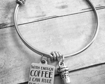 With Enough Coffee I Can Rule The World Charm Bracelet