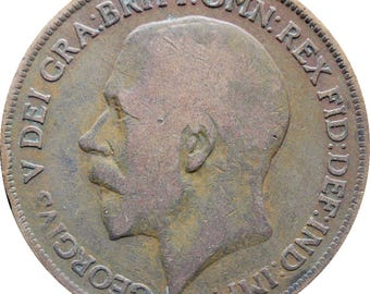 1919 One Penny George V United Kingdom Coin