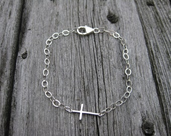 Sterling Silver Cross Bracelet Religious Jewelry First Holy Communion Jewelry Confirmation Gift Communion Gift Confirmation Jewelry