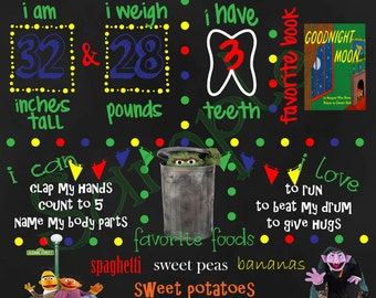 Seasame Street 1st, 2nd, 3rd, 4th Birthday Chalkboard Sign
