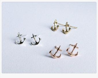 Anchor earrings, Stud Earrings, anchor, love, anchor earrings silver