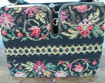 Vintage Cross Stitched Purse, Vintage Crochet Purse, Vintage Floral Purse, Vintage Handbag, Vintage Black Purse