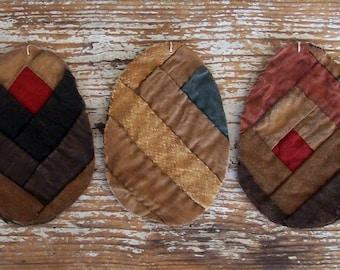 3 LARGE Primitive Egg Ornaments, Antique Log Cabin Quilt, Tattered Eggs, Wabi Sabi, Farmhouse Easter Decor, Browns & Blues - READY to SHIP